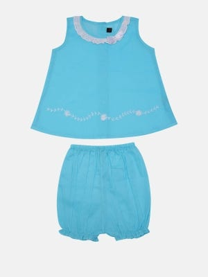 Sky Blue Embroidered Voile Nima Set