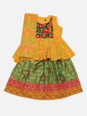 Mustard Printed and Embroidered Linen Ghagra Choli Set
