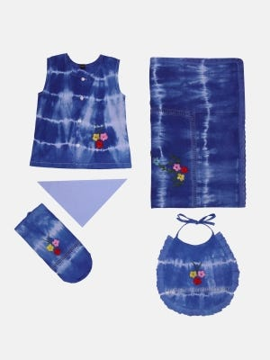 Green Embroidered and Tie-Dyed Voile Newborn Set