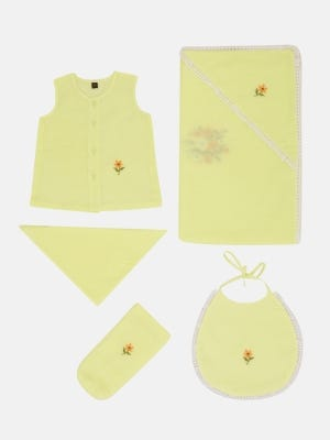 Yellow Embroidered Voile Newborn Set