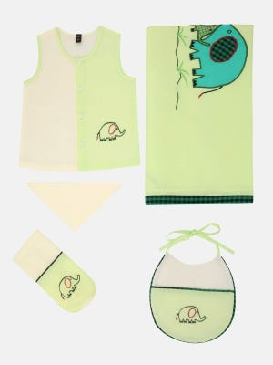 Lime Green Embroidered Cotton Newborn Gift Set