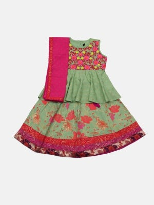 Moss Green Printed and Embroidered Linen Ghagra Choli Set