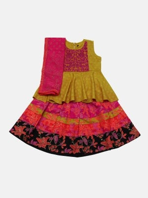 Yellow Ochre Printed and Embroidered Linen Ghagra Choli Set