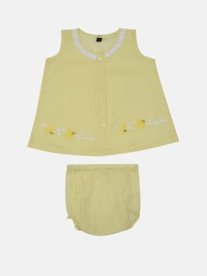 Yellow Embroidered Voile Nima Set