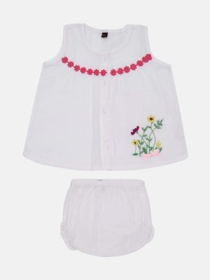 White Embroidered Voile Frock