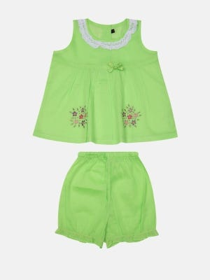 Lime Green Embroidered Voile Nima Set
