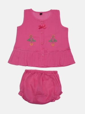 Punch Pink Embroidered Voile Girls Nima
