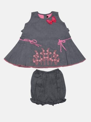Grey Embroidered Chambrey Cotton Frock with Bottom