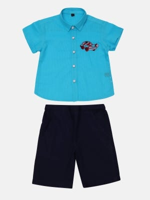 Blue Striped and Embroidered Cotton Shirt Pant Set