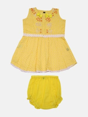 Yellow Printed and Embroidered Voile Frock