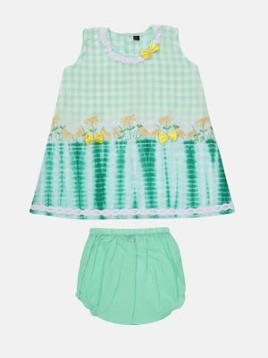 Green Check Embroidered Cotton Frock