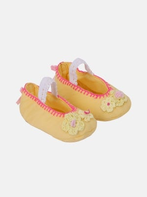 Yellow Embroidered Cotton Shoe