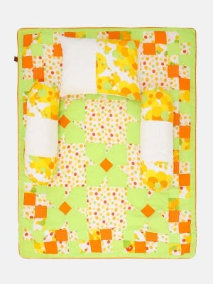 Lime Green Printed Cotton New Born Carrier Set
