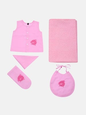 Pink Printed and Appliqued Voile Newborn Gift Set