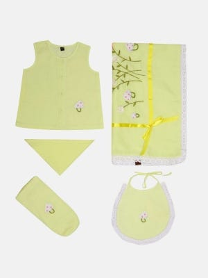 Lime Yellow Embroidered and Appliqued Voile Newborn Gift Set