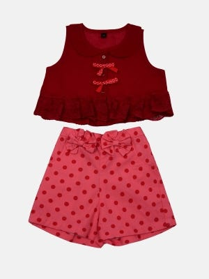 Red Voile Pant Top Set