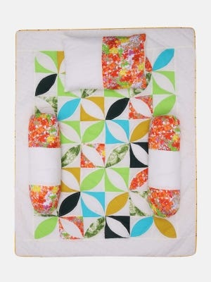 Multicolour Embroidered and Appliqued Cotton-Voile Carrier Set