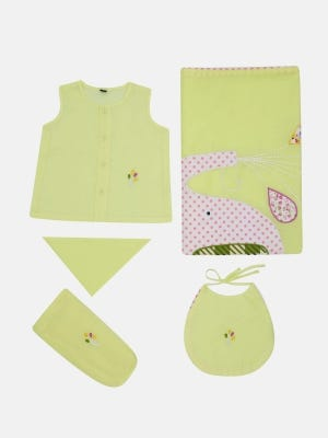 Lemon Yellow Embroidered and Appliqued Voile Newborn Gift Set