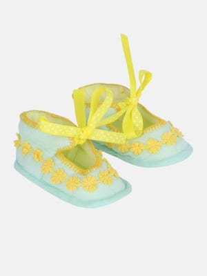 Light Turquoise Embroidered Cotton Shoe