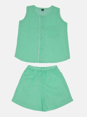 Mint Green Embroidered Voile Nima Set