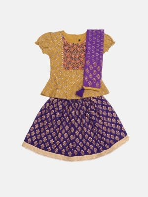Mustard Printed and Embroidered Girls Ghagra Choli