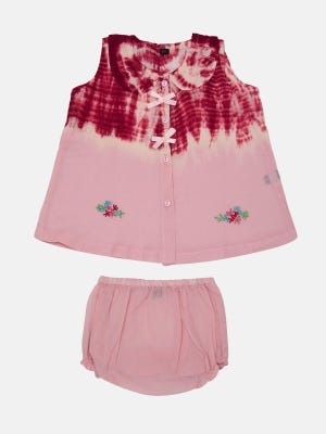 Peach Tie-Dyed and Embroidered Voile Nima Set