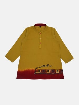 Goldenrod Printed and Ombre Dyed Viscose-Cotton Panjabi