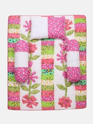 White Printed and Appliqued Cotton New Born Carrier Set