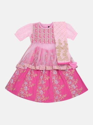 Pink Embroidered and Printed Linen Ghagra Choli Set