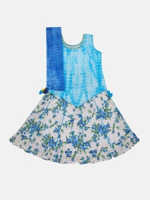 Sky Blue Printed and Embroidered Linen Ghagra Choli Set