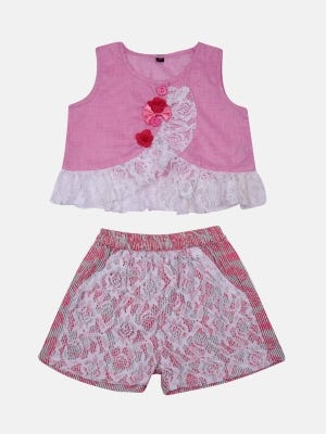 Pink Voile Pant Top Set