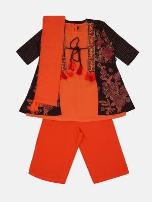 Dark Chocolate Printed and Embroidered Linen Shalwar Kameez Set with Coaty