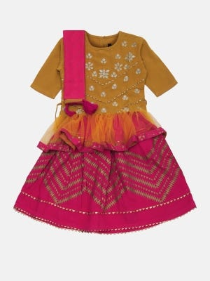 Olive Printed and Embroidered Linen Ghagra Choli Set