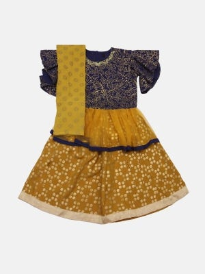Midnight Blue Printed and Embroidered Linen Ghagra Choli Set