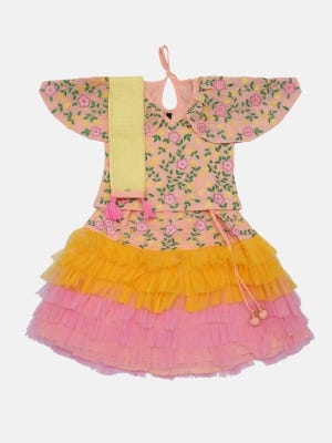 Peach Printed and Embroidered Linen Ghagra Choli Set
