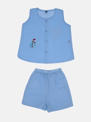 Sky Blue Embroidered Voile Boys Nima