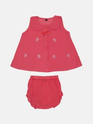 Pink Embroidered Voile Nima Set