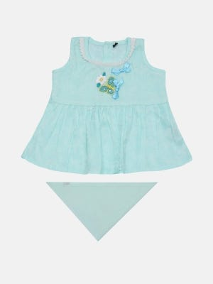 Light Aqua Embroidered Mixed Cotton Frock with Bottom