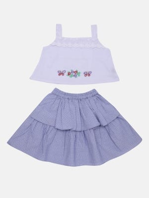 White Printed and Embroidered Cotton Skirt Top Set