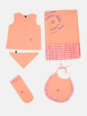 Peach Embroidered and Appliqued Voile Newborn Gift Set
