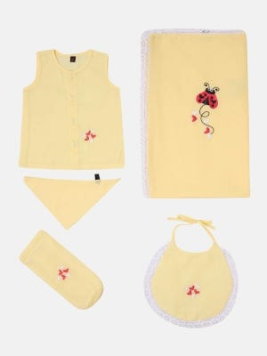 Pastel Yellow Embroidered Voile Newborn Gift Set