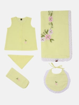 Yellow Embroidered Voile Newborn Gift Set