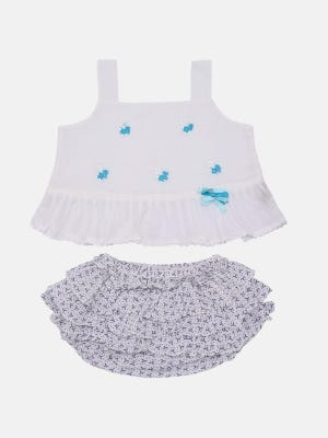 White Embroidered Voile Skirt Top Set