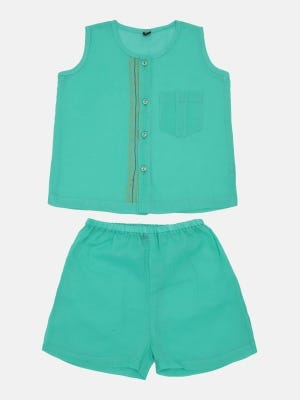 Turquoise Embroidered Voile Nima Set