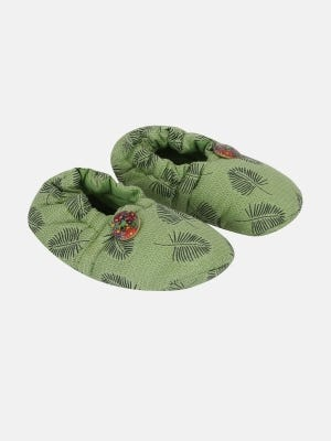 Olive Printed and Embroidered Cotton Shoes