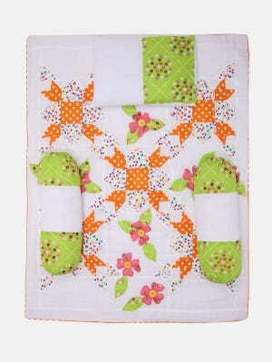 White Printed and Embroidered Cotton-Voile Carrier Set