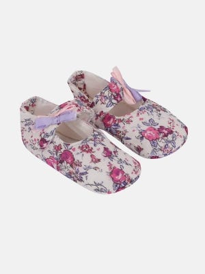 White Printed Cotton Shoes
