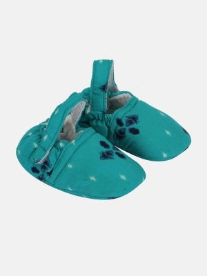 Teal  Printed Cotton Shoes