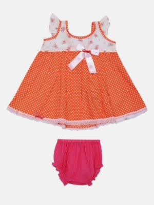 Orange Printed Cotton Frock with Bottom