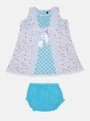 Sky Blue Check Cotton Frock with Bottom